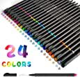 Fineliners Pens, Beupro Fineliner Color Pen Set Sketch Writing Drawing Pens for Bullet Journal Note Taking and Coloring Books- 24 Assorted Colors