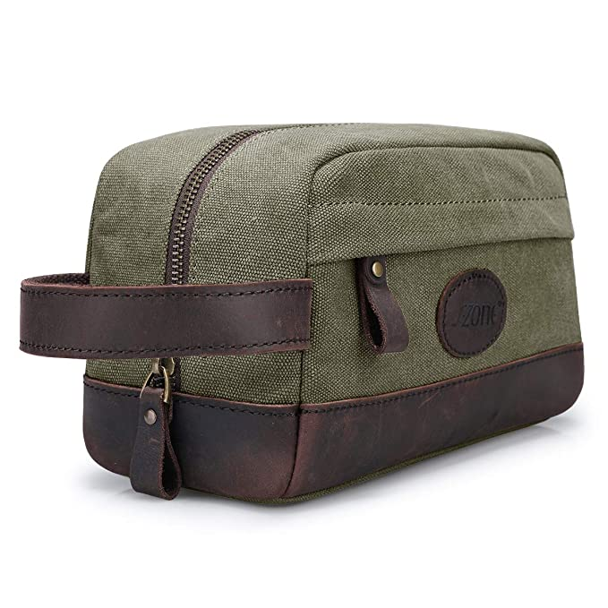 0f52e24f98d2 Amazon.com  S-ZONE Vintage Leather Canvas Men Toiletry Bag Shaving Dopp  Case Dopp Kit Makeup Bag Groomsmen Gifts  Clothing