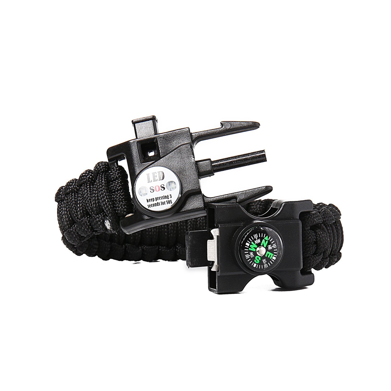 Rescue Whistle and mini Multitool Fire Starter Compass Slim Buckle Design Rescue Whistle and mini Multitool Fire Starter Compass Slim Buckle Design IT/&Lin Firestarter Survival Bracelet SOS LED Light The white camouflage