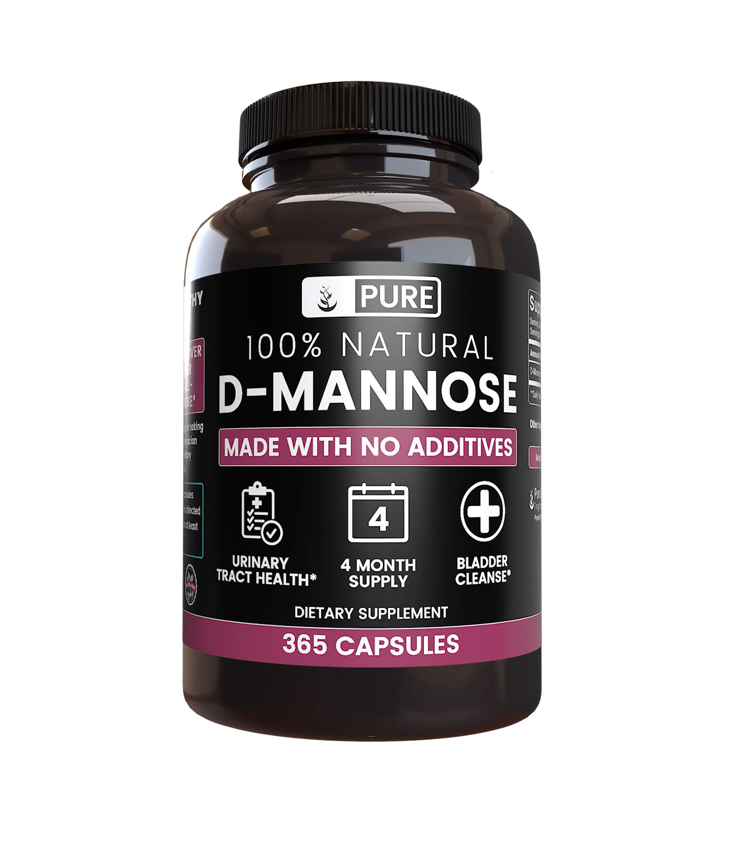 All-Natural D-Mannose |365 Capsules |1500mg |No Magnesium or Rice Filler, Vegetarian, 4-Month Supply, Made in USA, Non-GMO, Potent, Undiluted D-Mannose with No Additives by Pure Organic Ingredients