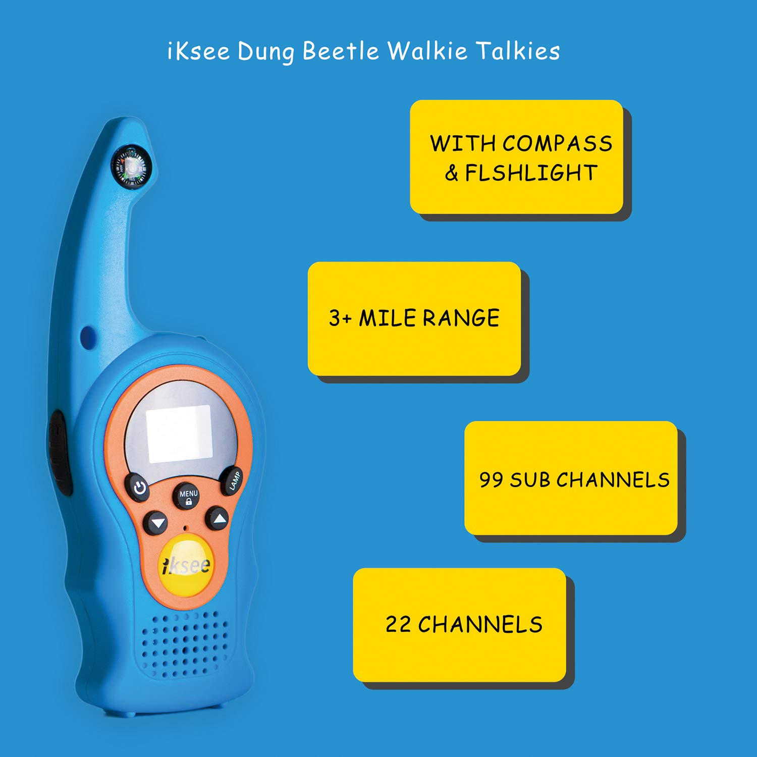 iKsee 2019 Must-Have Dung Beetle Walkie Talkie Set for Adults and Kids with Compass Flashlight, 3+ Mile Long Range Two Way Radios Toys Gifts for 4-12 Boys Girls Awards and Family Games (Blue,1 Pair) by iKsee (Image #2)