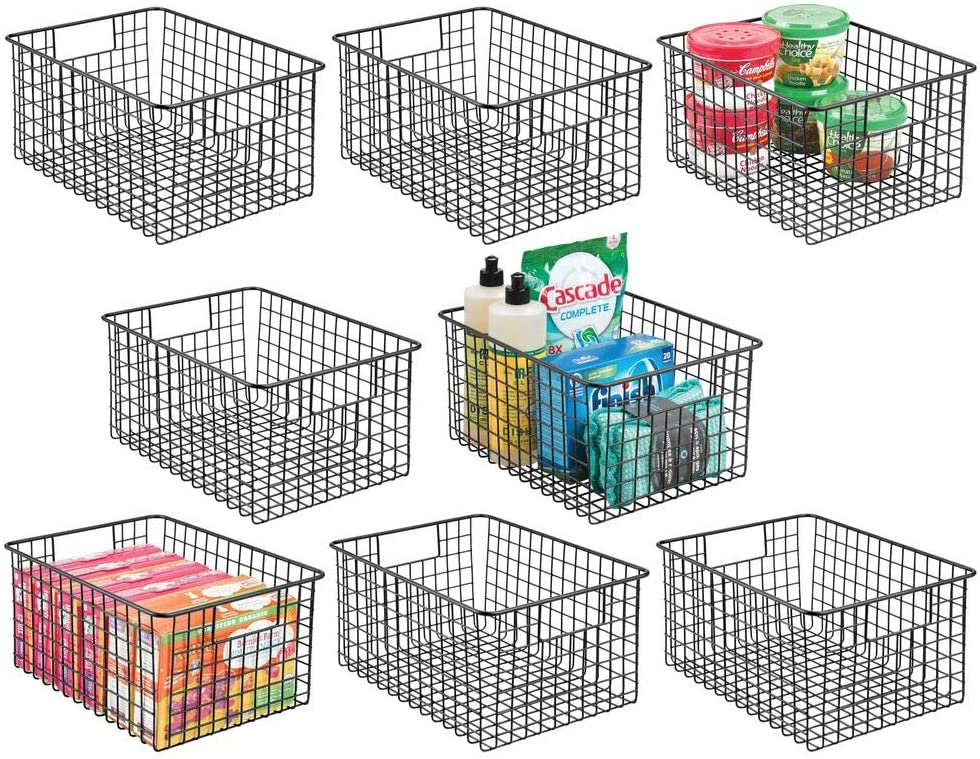 "mDesign Farmhouse Decor Metal Wire Food Storage Organizer Bin Basket with Handles - for Kitchen Cabinets, Pantry, Bathroom, Laundry Room, Closets, Garage, 12"" x 9"" x 6"" - 8 Pack - Black"