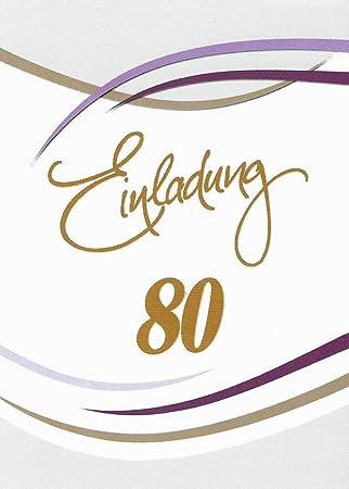 Einladungskarten 80 Geburtstag Frau Mann Mit Innentext Motiv Weiss