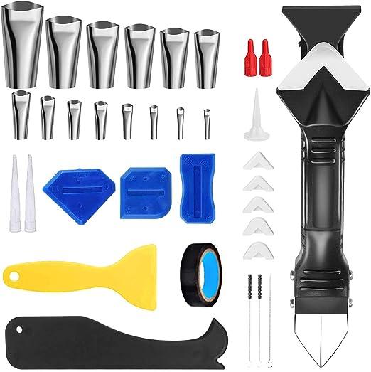 ZEAVAN 35Pcs/Set Silicone Caulking Tool Kit, Sealant Finishing Kit Caulk Nozzle Applicator Grout Scraper Reusable Caulking Tools for Kitchen Bathroom Window Sink Joint
