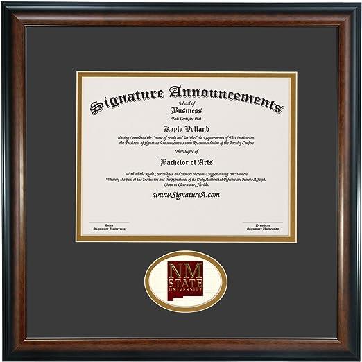 Sculpted Foil Seal Graduation Diploma Frame 16 x 16 Matte Mahogany Signature Announcements New-Mexico-State-University Undergraduate