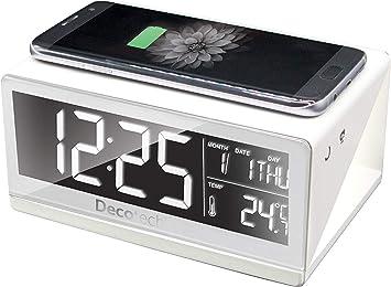 Lexibook Decotech Réveil avec Chargeur sans Fil, intensité Lumineuse de l'écran Ajustable, avec Adaptateur Secteur, Blanc, RLI800