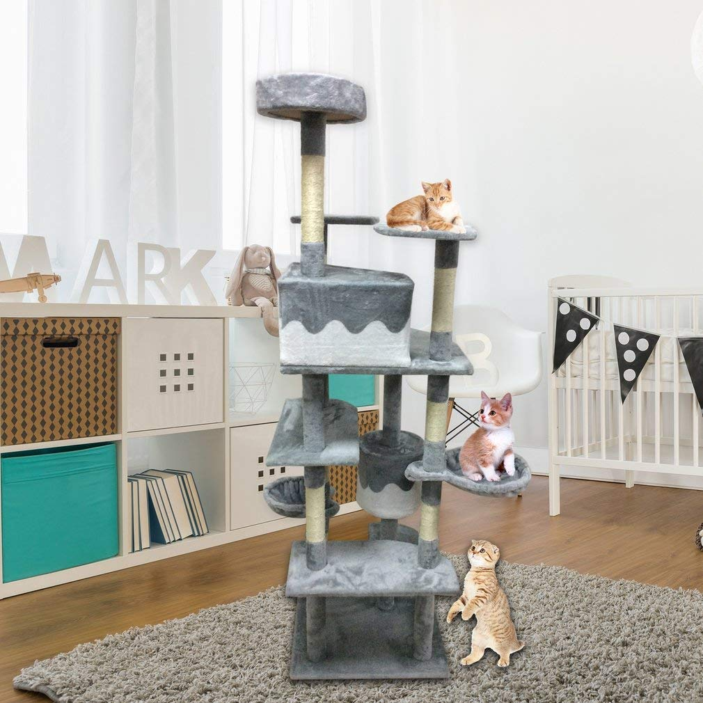 Elepawl Cat Toy House Bed Hanging Playing Tree Kitten Furniture Scratchers Solid Wood for Cats Climbing Frame Cat Condos