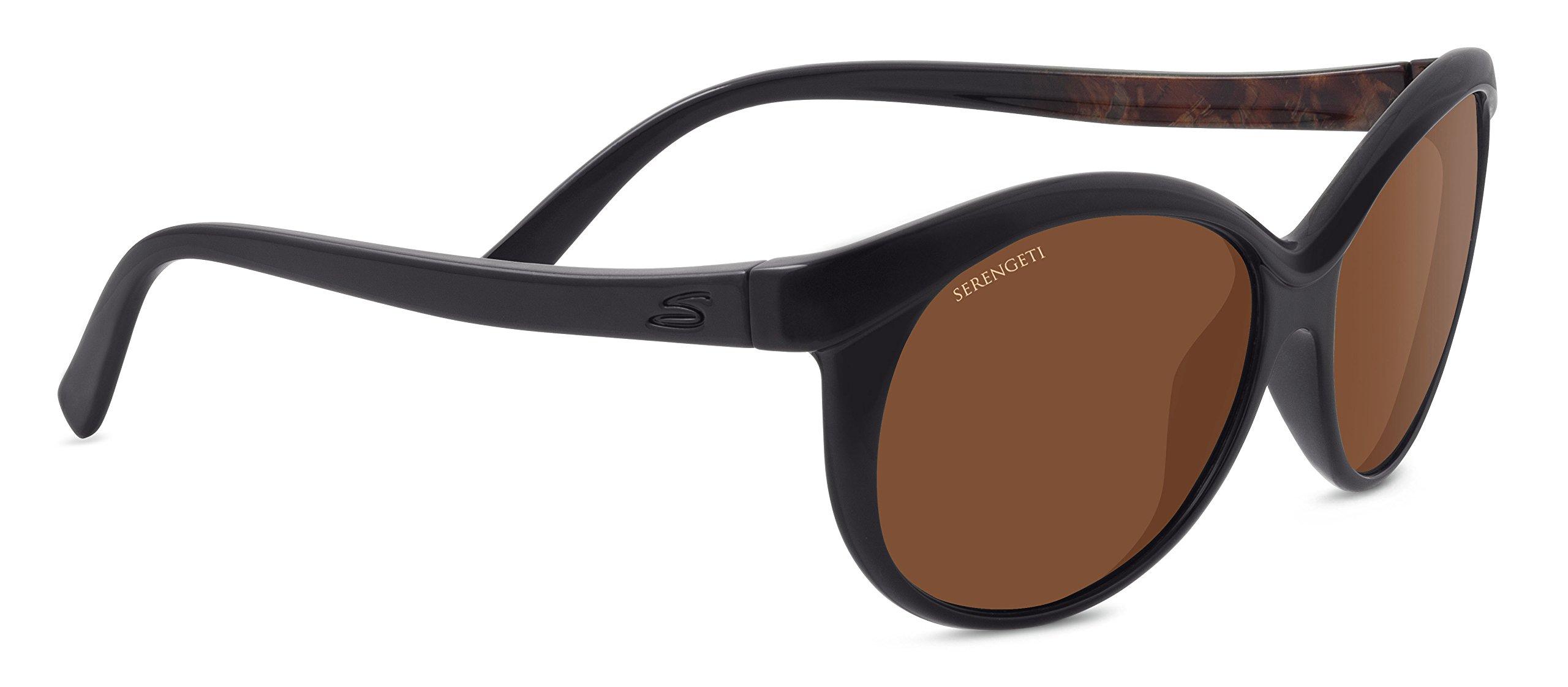 Serengeti 8186 Caterina, Shiny Black/Brown Wood Frame, Polarized Drivers Lens