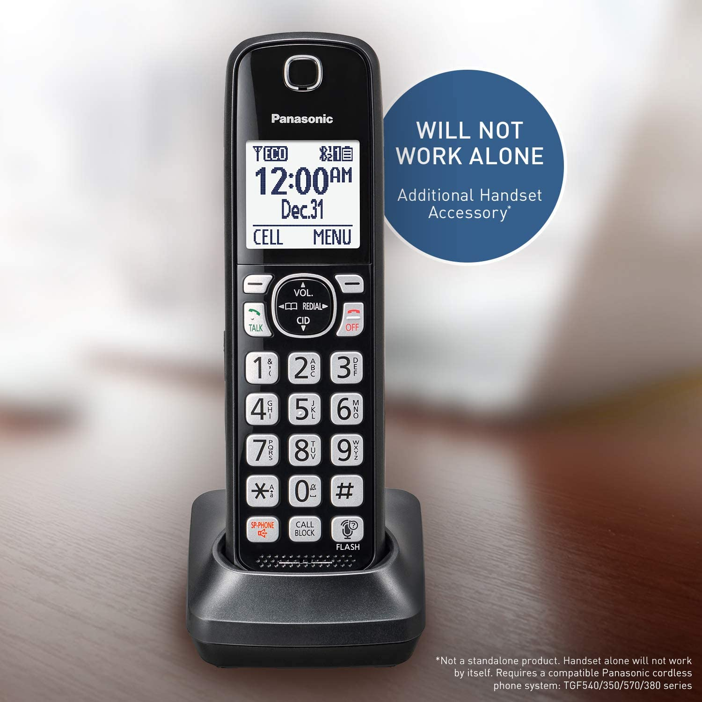 Panasonic Cordless Phone Handset Accessory Compatible with TGF540/570/TG785 Series - KX-TGFA51B, Black