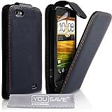 Yousave Accessories TM Leder Flip Schutzhülle Für Das HTC ONE V Mit Displayschutzfolie Und Graues Micro Faser Putztuch