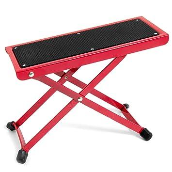 Tiger Adjustable Folding Guitar Footstool   Red