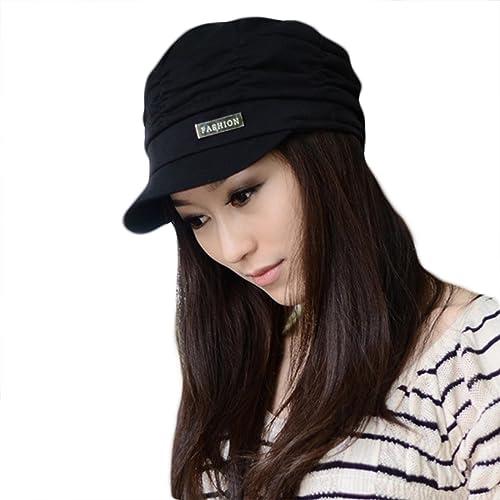 LOCOMO Mujer Niña Moda Capas de diseño drapeado Beanie sombrero de costilla Gorra de Visera ffh010blk negro