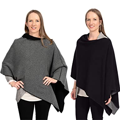 f6f3bf72c Cashmere Reversible Poncho Dress Topper - 100% Pure Luxury Knit - Ultra Soft  and Warm