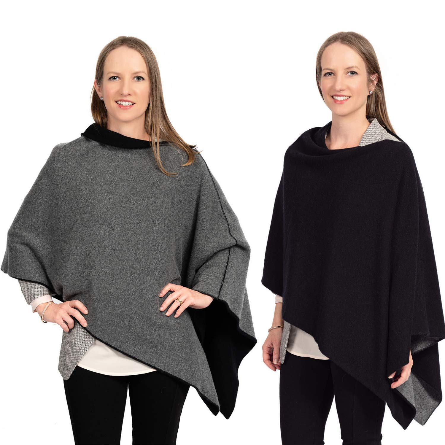 Cashmere Reversible Poncho Dress Topper - 100% Pure Luxury Knit - Ultra Soft and Warm with Beautiful Silk Keepsake Gift Bag (Black and Charcoal Gray)