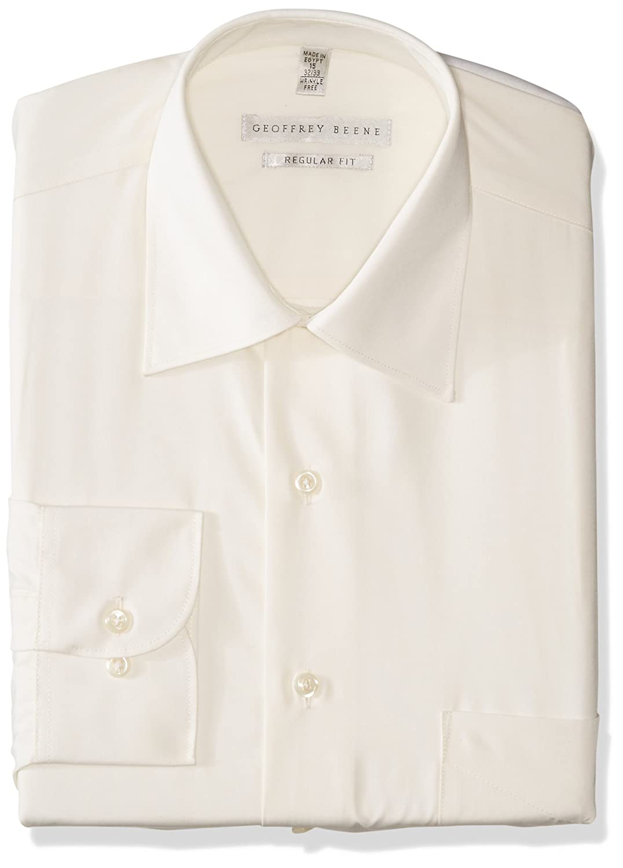 2ebde74a1e Geoffrey Beene Mens Sateen Fitted Solid Spread Collar Dress Shirt ...