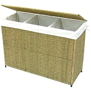 Woven Seagrass Full-load Home Laundry Hamper with Three Compartment and White Liner