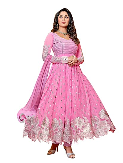 Buy Fashion Dream Women S Dress Material Dress Material Sangita Pink Suit White Free At Amazon In