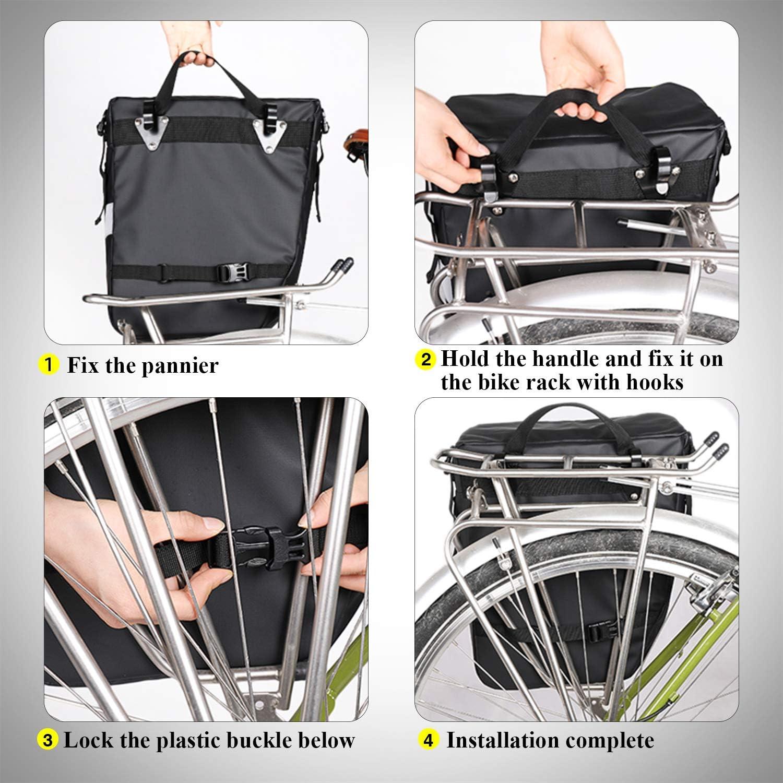 BAIGIO Bolsa Bicicleta Juego de Bolsas para Bcicleta Pannier 3 Compartimentos para Portaequipajes Asiento Trasero de Bicicleta de Carretera 3 in 1 Multifuncional Alforja Maletero Impermeable
