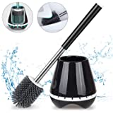MEXERRIS Toilet Brush and Holder Set Stainless Steel with Soft Silicone Bristle – Sturdy Cleaning Toilet Bowl Brush Set…