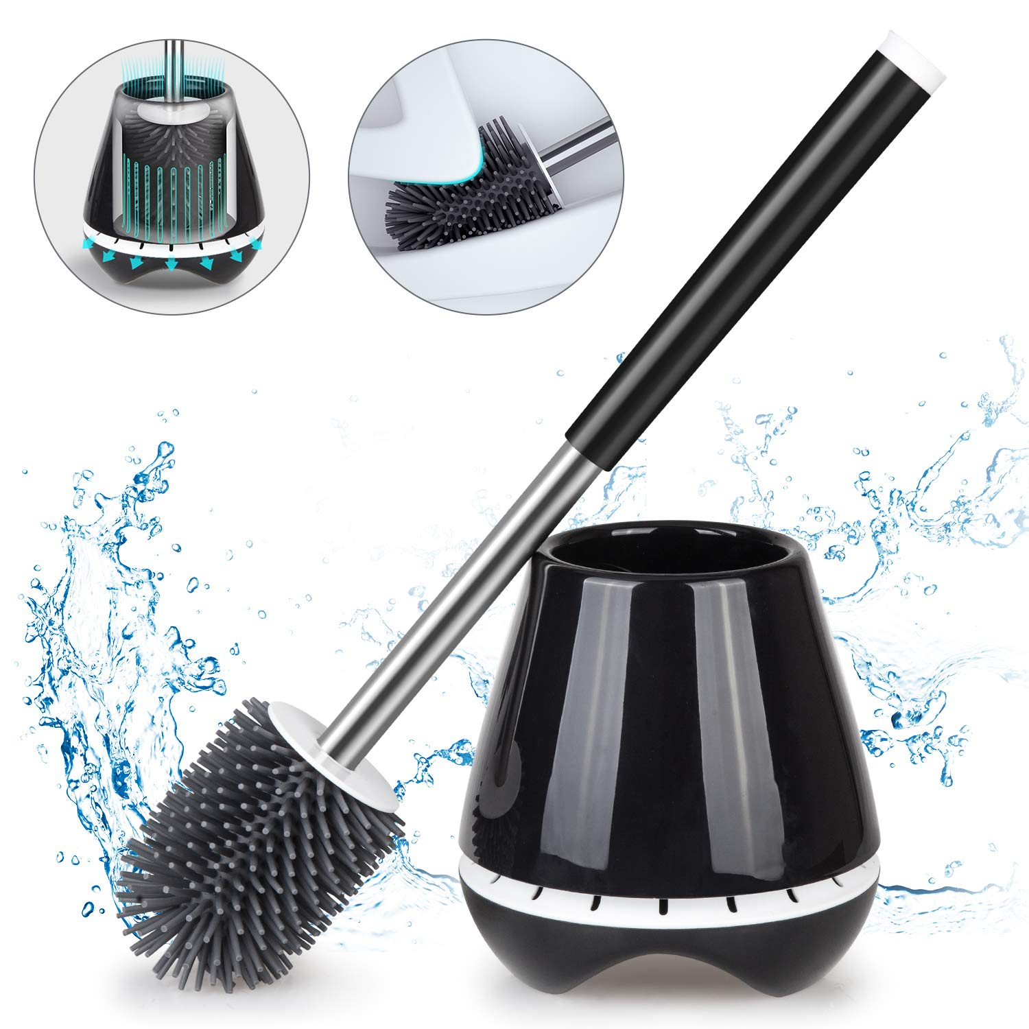 MEXERRIS Toilet Brush and Holder Set for Bathroom with Soft Silicone Bristle Sturdy Cleaning Toilet Bowl Brush Set for Bathroom Storage and Organization - Tweezers Included (Black) by MEXERRIS