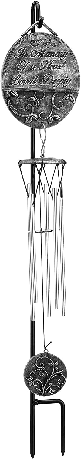 Napco in Memory of Heart Loved Deeply Pewter Gray 5 x 17 Resin Stone Wind Chime Stake