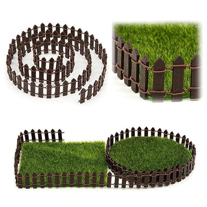 Favolook - Valla de jardín en miniatura, 1 m de miniatura, kit de jardín de hadas, valla de madera, terrario, casa de muñecas, accesorios de bricolaje, ...
