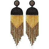 ALLEN DANMI Jewelry Dangle Earrings Ethnic Bohemia Style Handmade Colorized Seed Beads Waterfall Shape Statement Drop Earrings Shining Luxury Gift for Women. (Black)