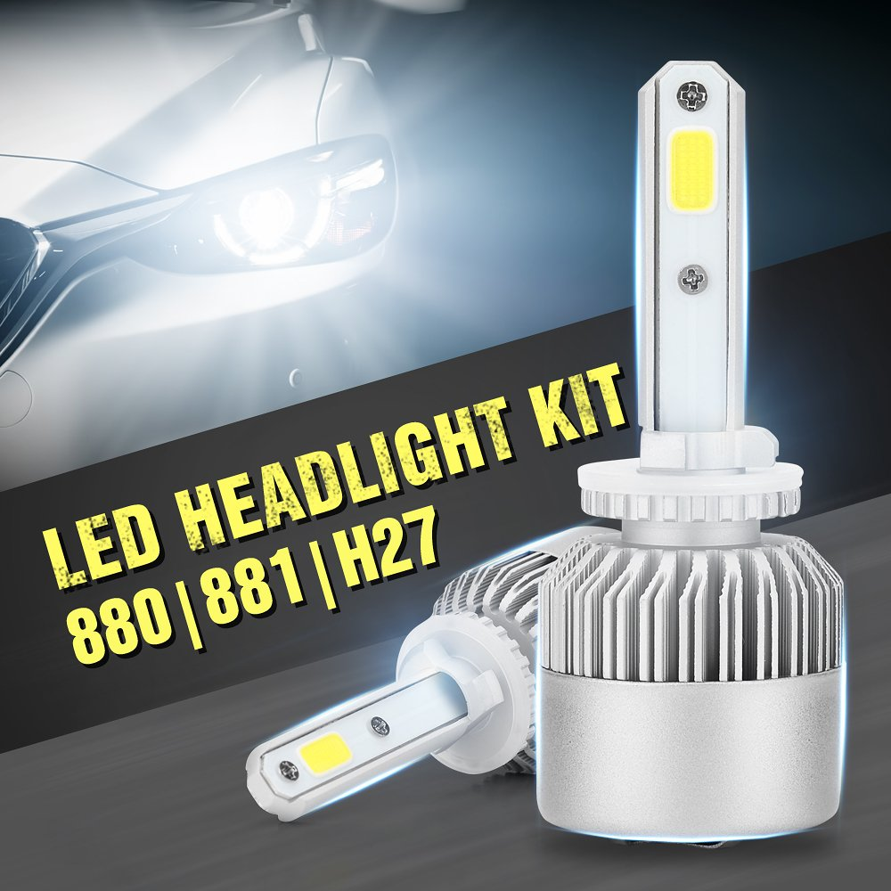 KaTur LED Headlight Bulbs Conversion Kit H13/9008, 72W 6500K White 9000Lumens IP68 Waterproof Extremely Bright Bridgelux Philips COB LED Chips Headlight Conversion Kit - 3 Yr Warranty
