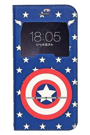 Iphone8 Iphone7 ケース 手帳型 マーベル 窓付き Marvel キャラクター カード収納キャプテンアメリカ