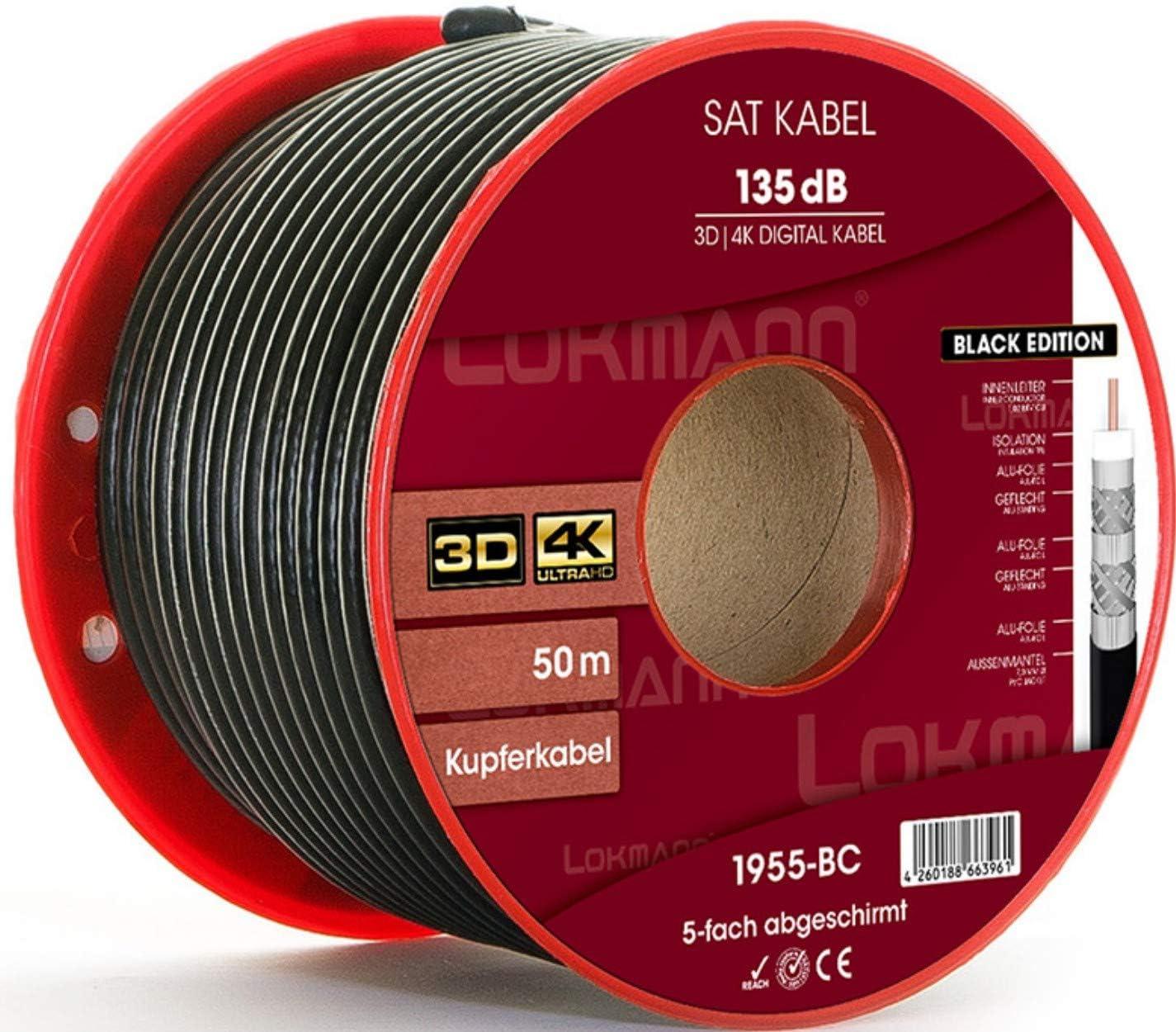 LOKMANN - Cable coaxial para Antena (50 m, Cobre, 135 dB ...