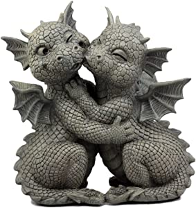 "Ebros Gift Fiery Romance Hatchling Dragon Lovers Garden Statue Faux Stone Resin Finish 10"" H Dragon Hugs Home Decor Figurine Dungeons and Dragons Fantasy Art"