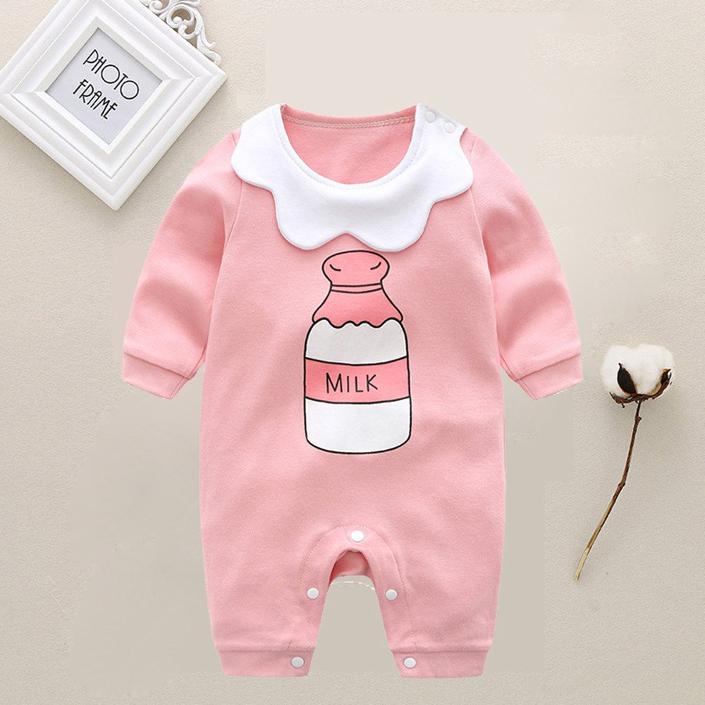 XUANOU Baby Long Sleeve Cartoon Bottle Letter Printed Hare Romper Jumpsuit Infant Girl Milk Bottle Letter Print Outfits
