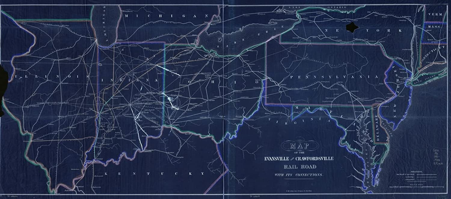Amazon vintography 18 x 24 blueprint style reproduced old map amazon vintography 18 x 24 blueprint style reproduced old map 1850map the evansville crawfordsville rail road its connections mclellan malvernweather Images