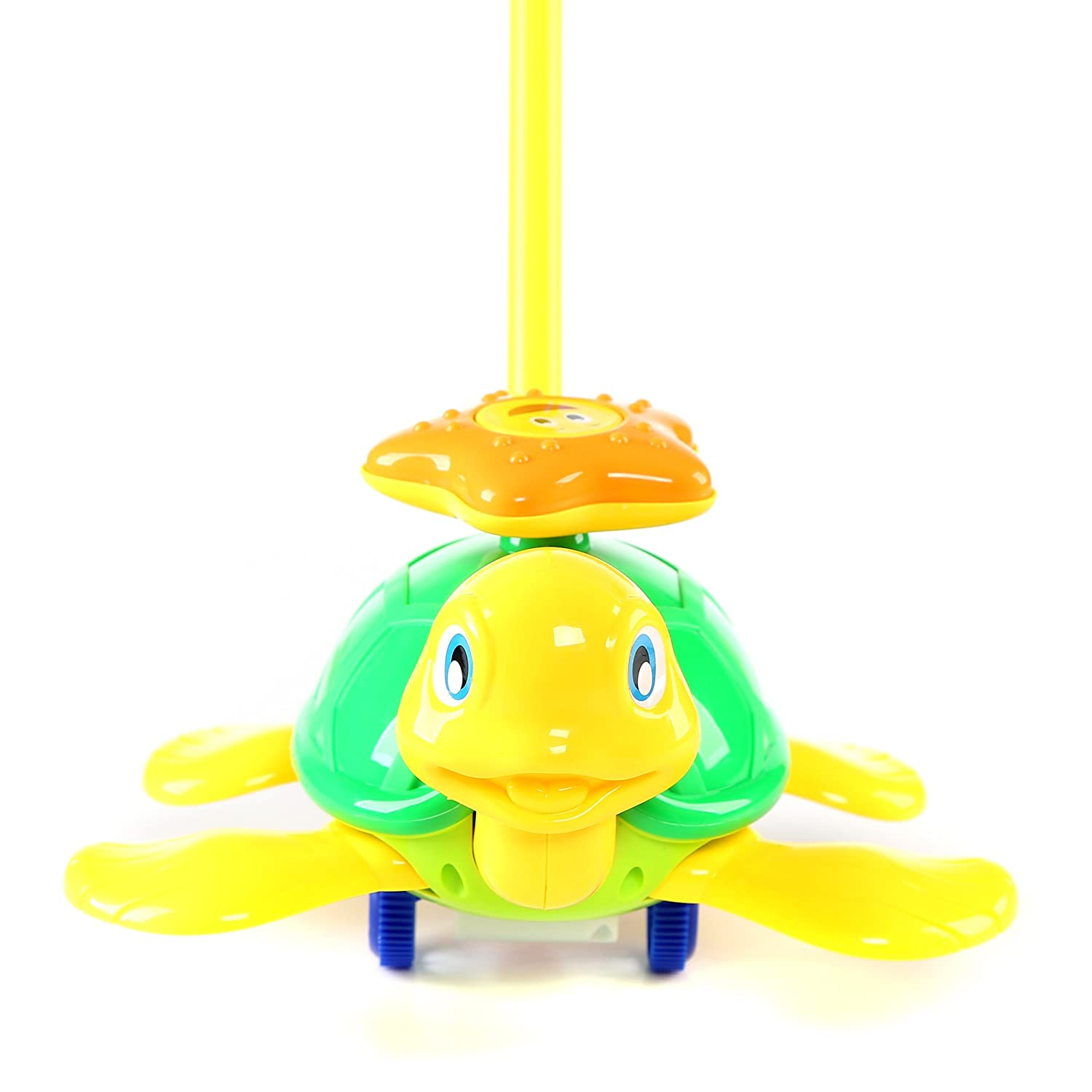 Fun Central BC897 1 Pc 10 Inches Turtle Push Toy Pushing Toy for Kids Outdoor Push Toys Classic Push and Pull Toys Push Around Toy for Baptism Birthday and Party Prizes