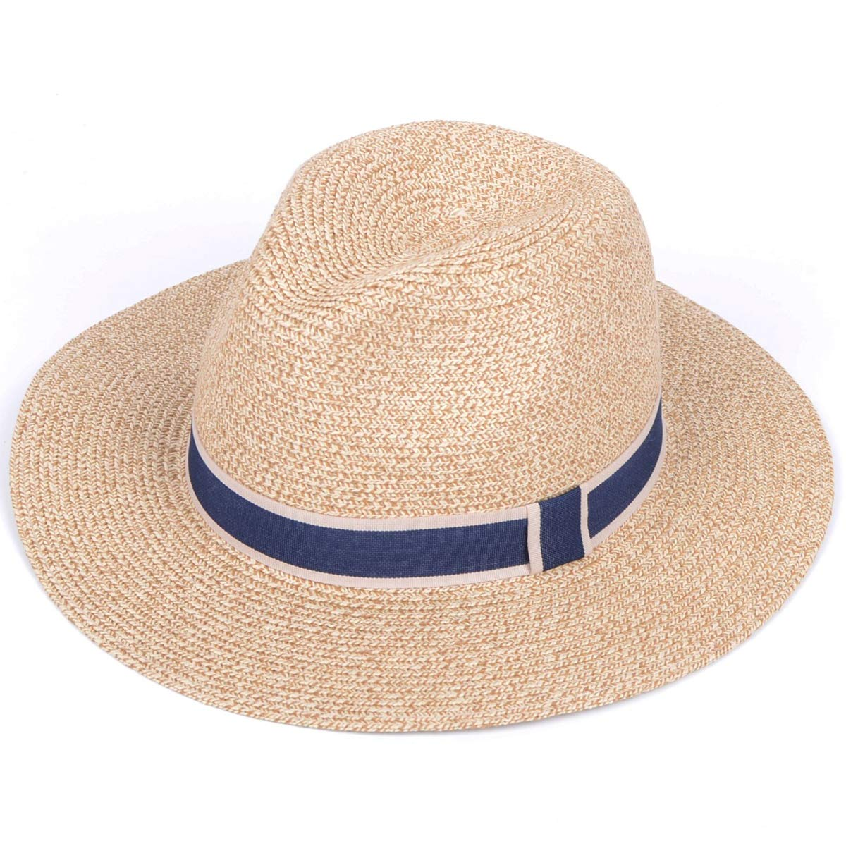 Lanzom Women Wide Brim Straw Panama Roll up Hat Fedora Beach Sun Hat UPF50+ (Y-Beige)