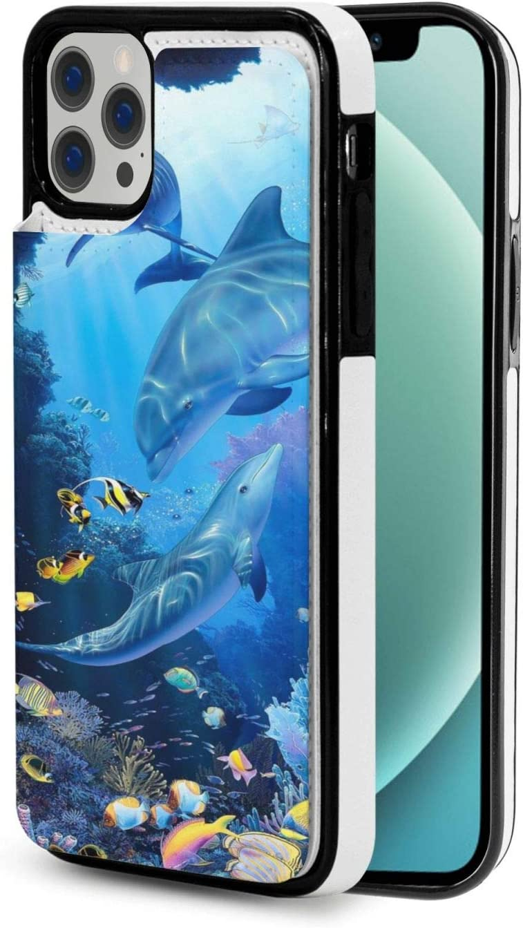 Dolphin Animals Beautiful Wallet Case for iPhone 12 Designed for Magnetic Mounting Compatible with Ip12-6.1