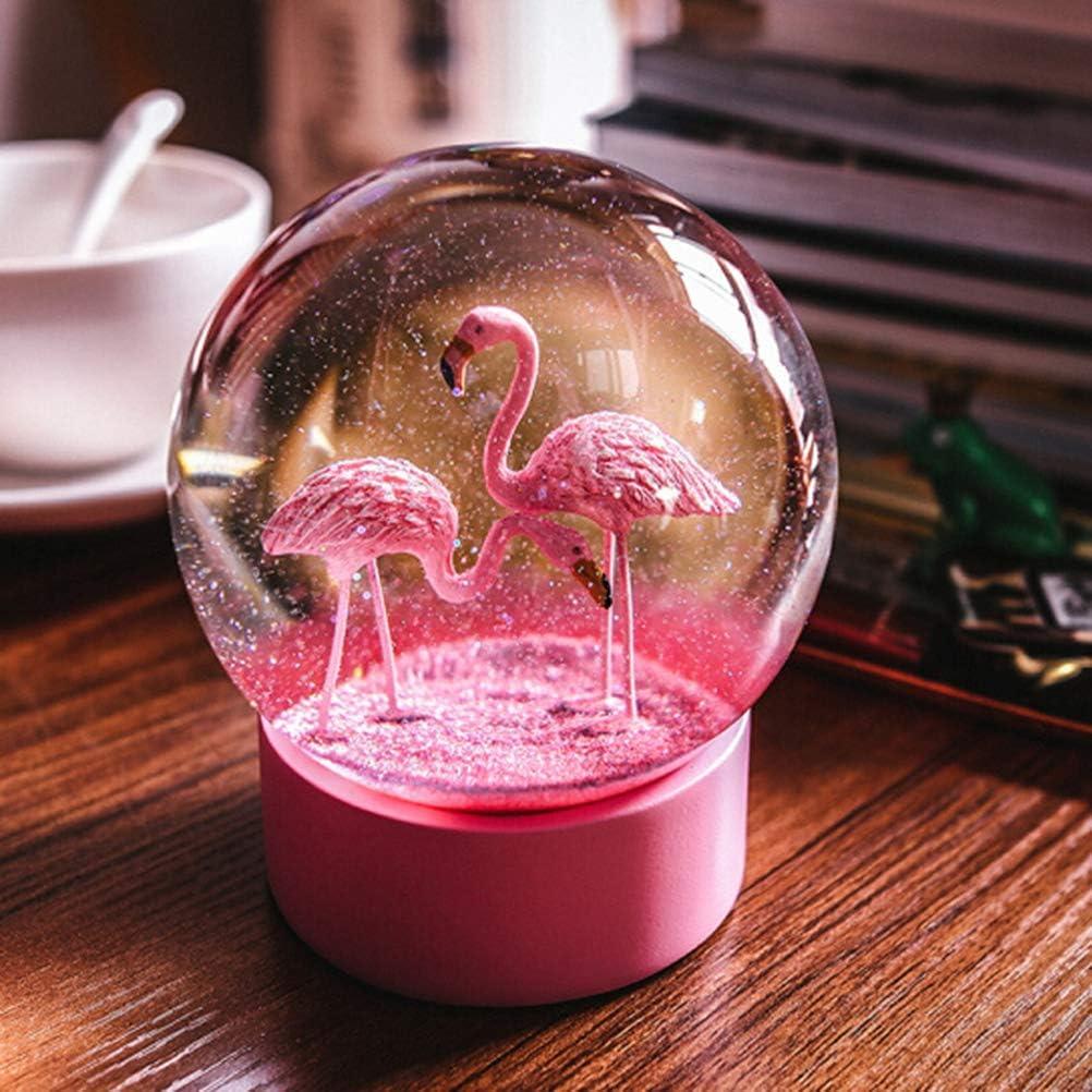 Rosa Kristallkugel 12 cm Vosarea Romantische Flamingo-Schneekugeln