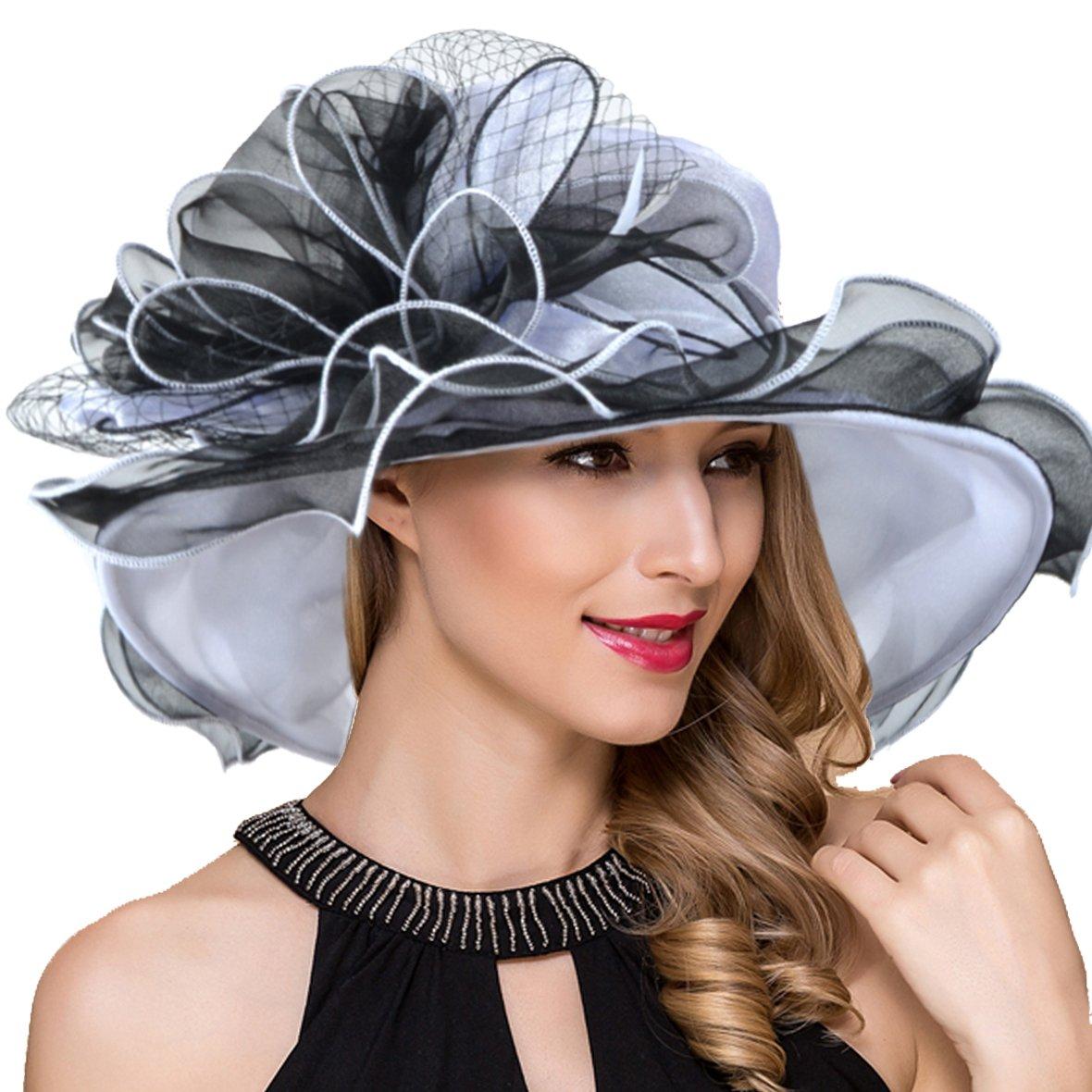 Black Women Derby Church Dress Wide Brim Ruffles Tea Party Organza Hats S042b