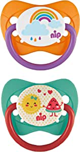 nip Family Soothers Silicone, 5-18M - Rainbow & Fruit