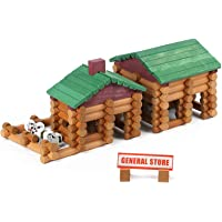 Wondertoys 170 Pieces Wood Logs Set Ages 3+, Classic Building Log Toys for Boy, Creative Construction Engineering…