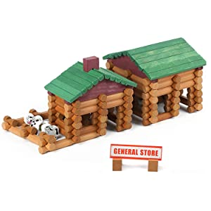Wondertoys 170 Piece Wood Logs Set Building Toys Educational Gifts for Boy and Girl