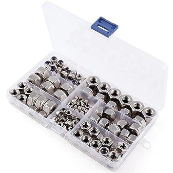 150 St/ück Nylon-Einsatz Schraubenmutter-Kasten mit Sechskant-Schraubenmuttern verzinkt