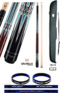 product image for Valhalla VA951 by Viking 2 Piece Pool Cue Stick, No Wrap Design, Turquoise HD Graphic Transfers, Nickel Silver Rings, High Impact Ferrule, 18-21 oz. Plus Cue Case & Bracelet