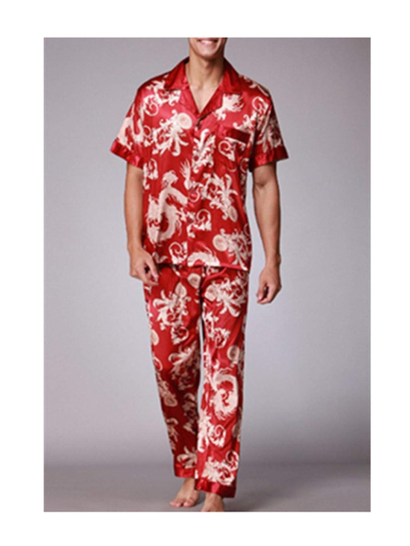 Susan1999 Men Printed Satin Silk Pyjamas Male Sleepwear Loungewear Short Sleeves Long Pants Pajama Set