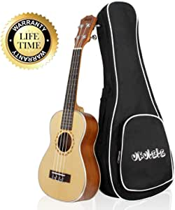 Mugig Ukulele,Soprano Ukulele 21 Inch, 4 Nylon Strings, Spruce Top, Panel Hickory Fretboard, Silver Geared Tuners Instrument with Black Carry bag