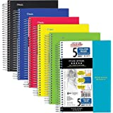 "Five Star Spiral Notebook, 5 Subject, College Ruled Paper, 9-1/2"" x 6"", Color Will Vary (06184) 1 Pack Assorted"
