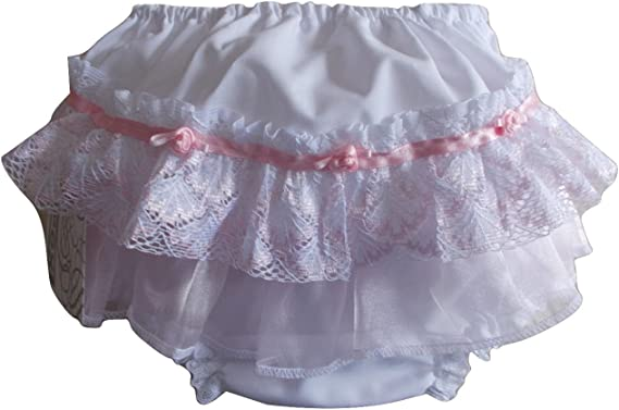 Baby Girls White Frill Back Nappy Cover Knickers, Frilly Pants (Large 12 18 Months & Extra Large 18 24 Months)