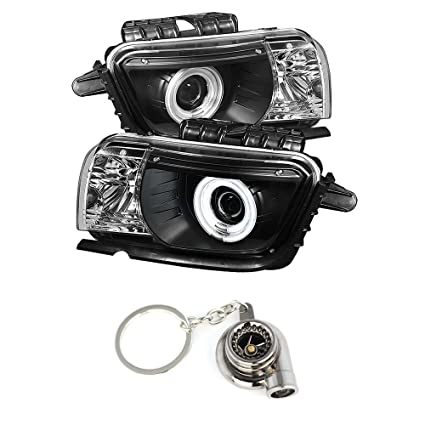 Amazon.com: Chevy Camaro Projector Headlights Dual Halo CCFL Halo Black Housing With Clear Lens + Free Gift Key Chain Spinning Turbo Bearing: Automotive