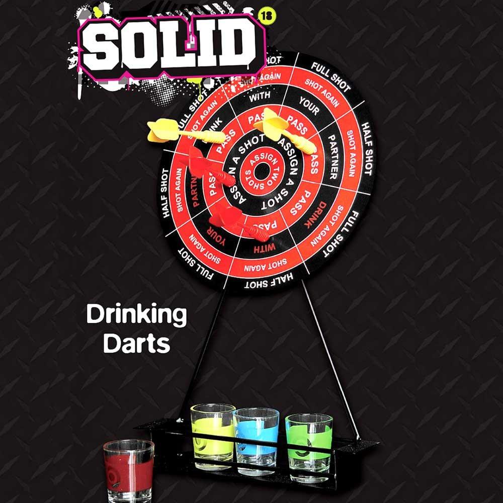 Jeu à boire fléchettes 4 joueurs pour fêtes ou soirées (shots, cible, flèches) Solid