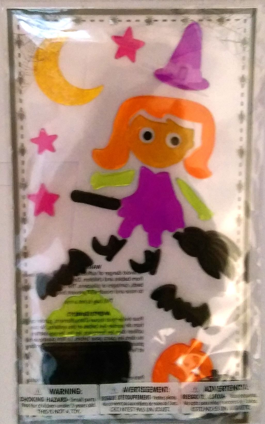 Halloween Gel Window Clings ~ Witch on Broom with Cauldron & Bats (12 Clings, 1 Sheet)